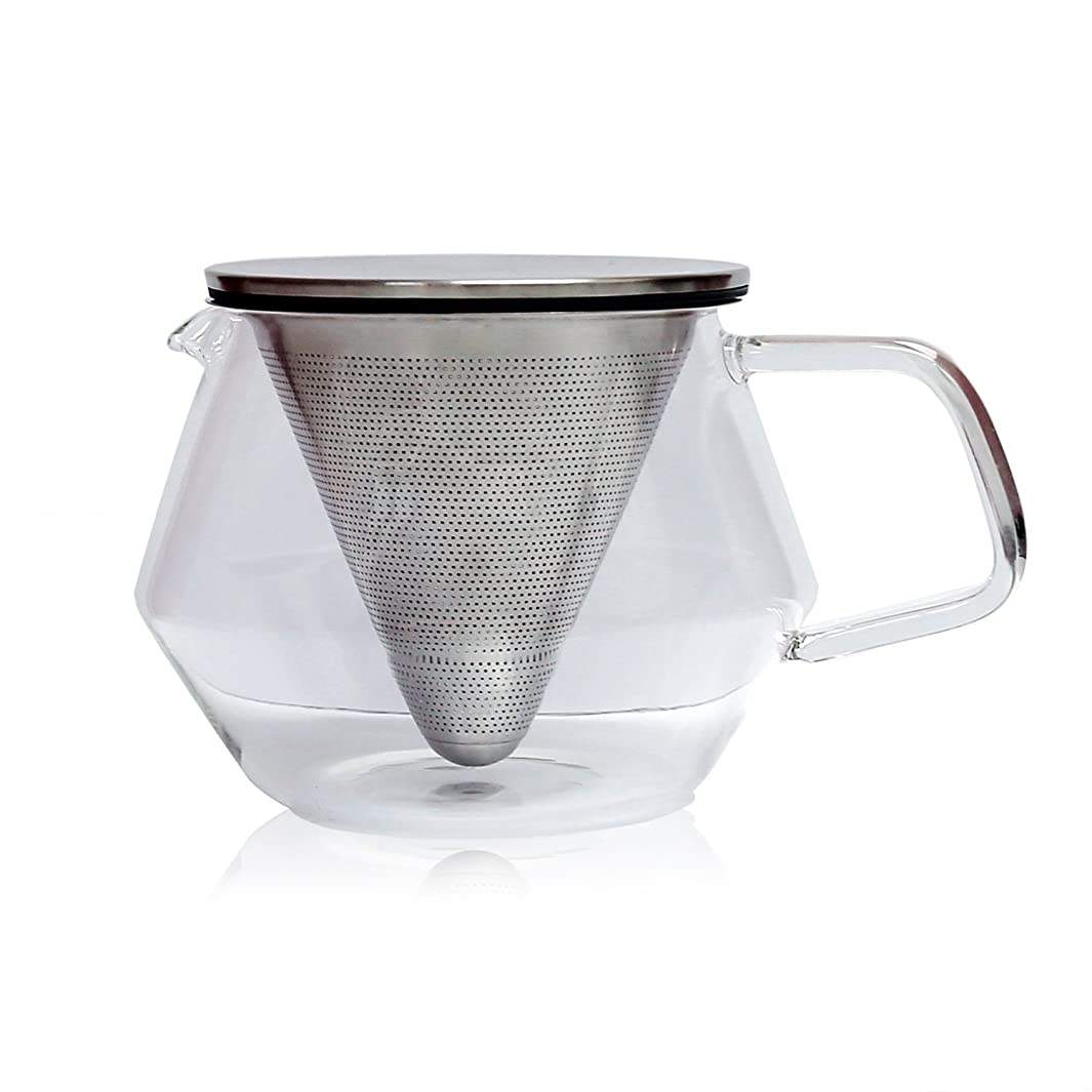 Kinto Carat Glass Teapot Infuser with Stainless Steel Lid, 29 fl oz, Brew Coffee or Tea, Brews Enough 4 Cups, Dishwasher safe
