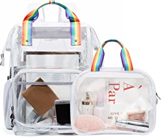 LIGHT FLIGHT Clear Backpack Heavy Duty Transparent Backpack Set See Through Bookbags Durable Backpacks for School, Security