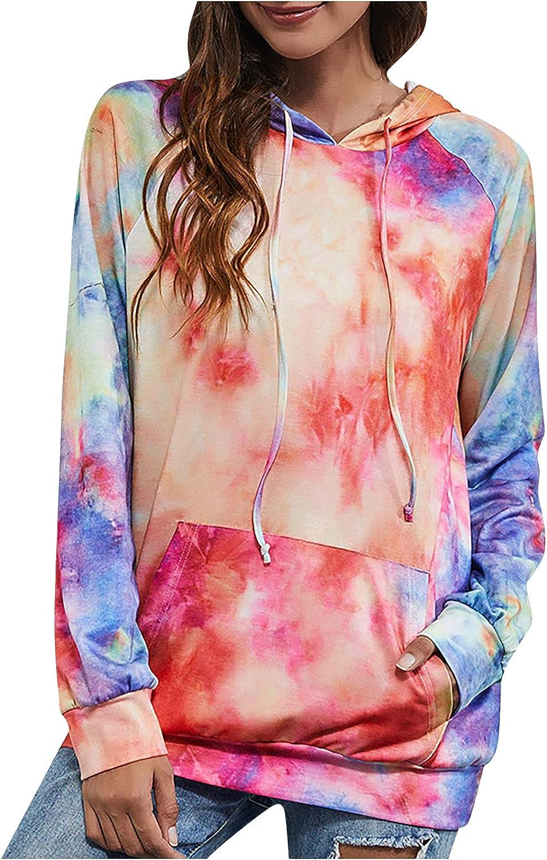 Winter Hoodies for Women Crewneck Long Sleeves Hooded Tops Teen Girls Warm Tie-Dye Pocket Sweatshirt