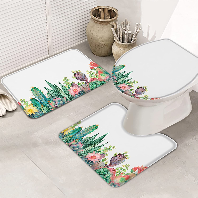 Queenker 3 Pieces Bath Rug Set Max Award 66% OFF Seat Toilet Cactus Tropical Cover