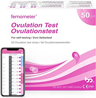 Femometer Ovulation Test Strips Kit, 50 LH OPK, Sensitive Fertility Predictor Testing Sticks, Accurate Results with Smart App (iOS & Android) and Can Save All Test Strip Result