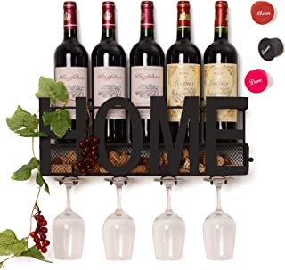 SODUKU Wall Mounted Metal Wine Rack 4 Long Stem Glass...