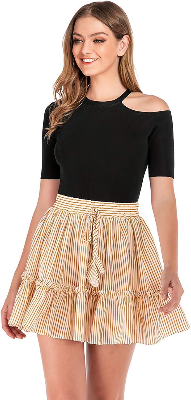 Hanlolo Women's Mini Skirts Polka Dot Striped High Waist A Line Skater Skirt