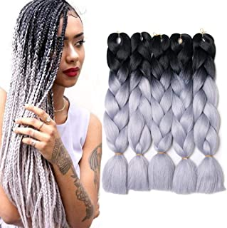 Synthetic Braiding Hair Extensions Ombre Jumbo Braid Hair High Temperature Fiber Hair Extensions 5Pcs 24 inch Black-Grey