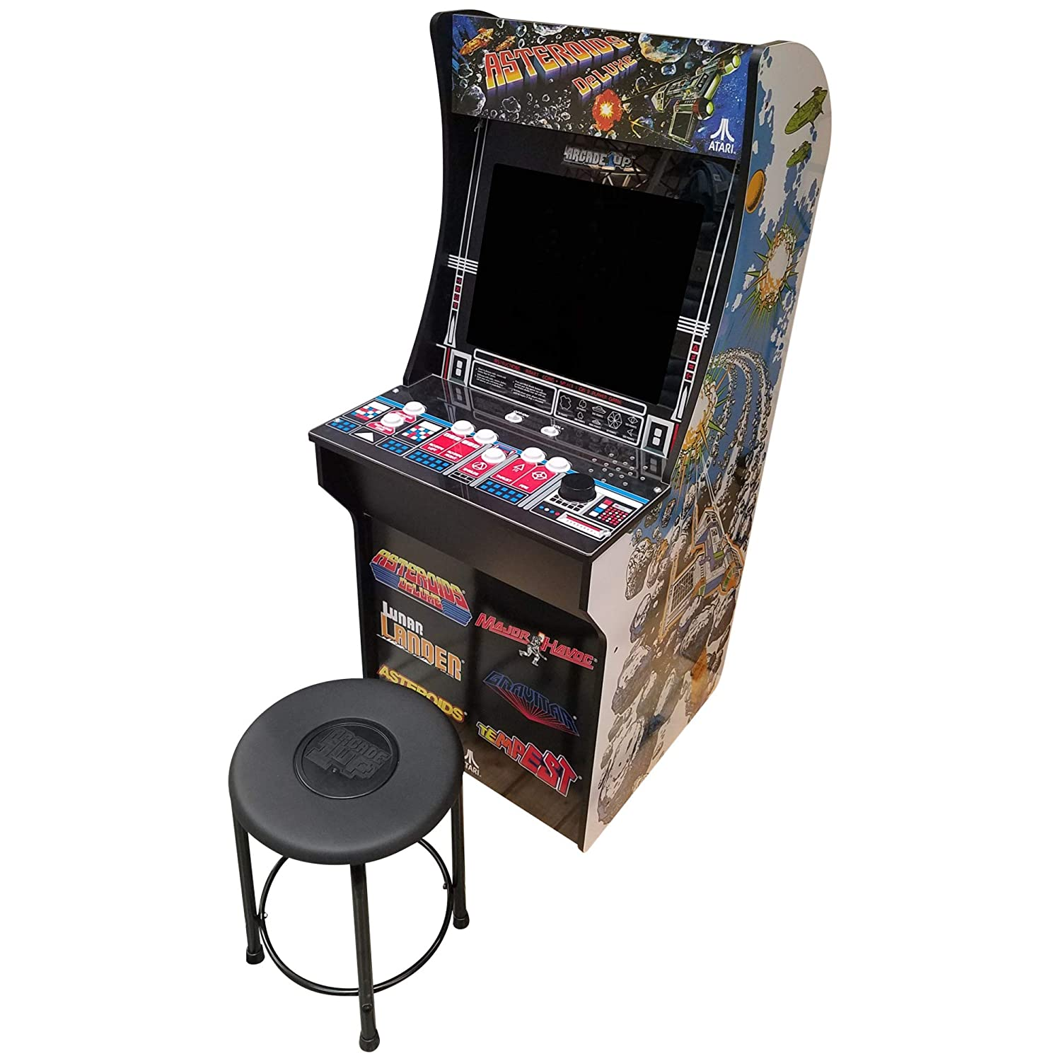 Buy Creative Arcades 6 in 1 Atari Cabinet Arcade 1Up Machine for Home   6  Classic Games Pre-Installed   Plug and Play - Fully Assembled   1 - 2  Player   Stool