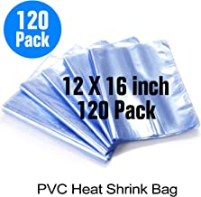 12x16 Inch Shrink Bags,120PCS Shrink Wrap Bag,PVC Heat Shrink Wrap Bags for Gifts,Bath Bombs, Soaps,Books,Candles,Shoes,Film DVD/CD,Jars,Bottles,Crafts & DIY Crafts and Other Commodities