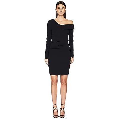 Nicole Miller Structured Heavy Jersey One Shoulder Dress (Black) Women