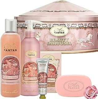 Un Air d'Antan Gift Set 1 Body Lotion 6.8oz.+ 1 Body Wash 8.8 oz. + 1 Hand Cream 0.9 oz. + 1 Soap 3.5oz ROSE, Peach and Patchouli. Sweet Glamourous Perfume, Birthday Gift Idea
