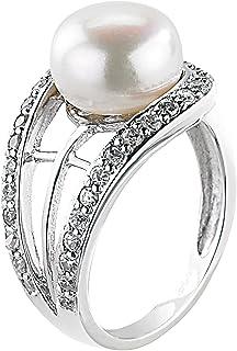 19,7 mm Ø 62 Damen-Ring Süßwasser Perlen Schmuck ohne Zirkonia 925 Silber 10mm