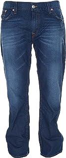 True Religion Men's Hand Picked Slim Red Orange Stitch Jeans in Lost Lagoon
