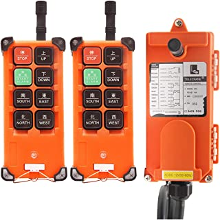NEWTRY 8 Buttons Wireless Crane Remote Control 12V 2 Transmitters Industrial Channel Electric Lift Hoist Radio Switch Receiver (F21E1B Transmitter + DC 12V Receiver)