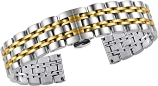 Premium Solid Gold Stainless Steel Wristwatch Bracelets Straight End Heavy Type Adjustable Size