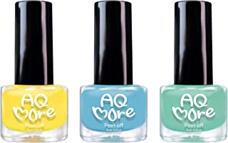 AQMORE Premium Water Based Nail Polish - Pure Minerals, Ultra Long Lasting, Easy Peel Off, Gel Manicures Like, Quick Drying, Non Toxic, Lab Tested, (Duckling! Duckling! 3 Color Set) 0.20 fl oz/Bottle