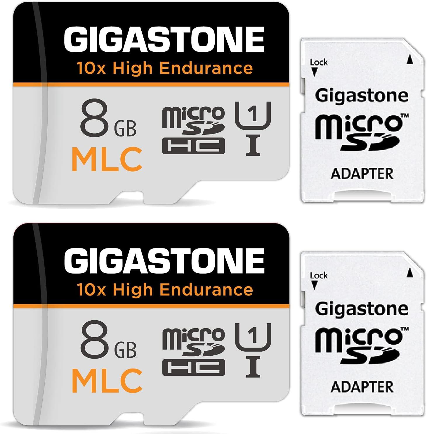 Gigastone 8GB 2-Pack MLC Micro SD Card, 10x High Endurance Full HD Video Recording, Security Cam, Dash Cam, Surveillance Compatible 85MB/s, U1 C10 Micro SD MLC (MLC 8GB 2-Pack)