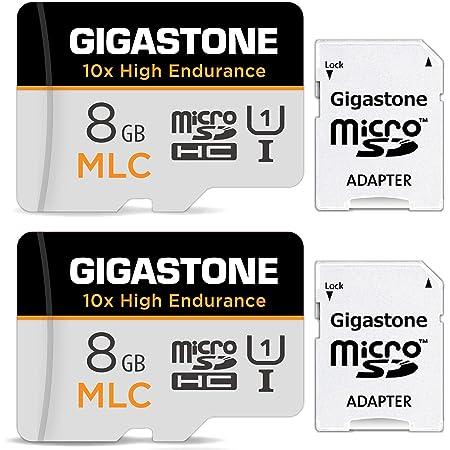 Gigastone MLC MicroSD 8GB 2個セット 高耐久 Full HD ビデオ撮影 防犯カメラ ドライブレコーダー 監視カメラ 対応 90MB/s U1 Class10