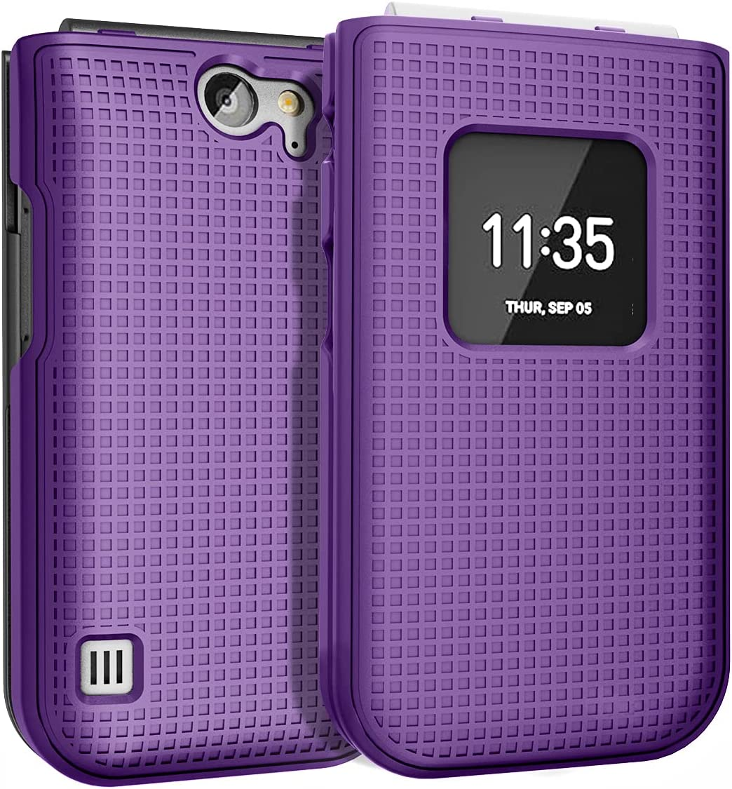 Case for Nokia 2720 V Flip Phone, Nakedcellphone [Purple] Protective Snap-On Hard Shell Cover [Grid Texture]