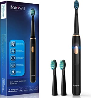 Fairywill Electric Toothbrush Sonic Rechargeable for Adults and Kids, Travel-Friendly Design Whitening in 4 Modes, 40,000VPM Power Toothbrush Fast Charging with Timer, 2 Brush Heads 551 Black Series