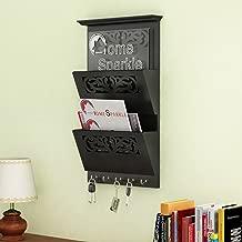 Home Sparkle Wooden Letter Cum Key Holder | Wall Mounted Letter Holder Key Holder for Home Decor (Black)