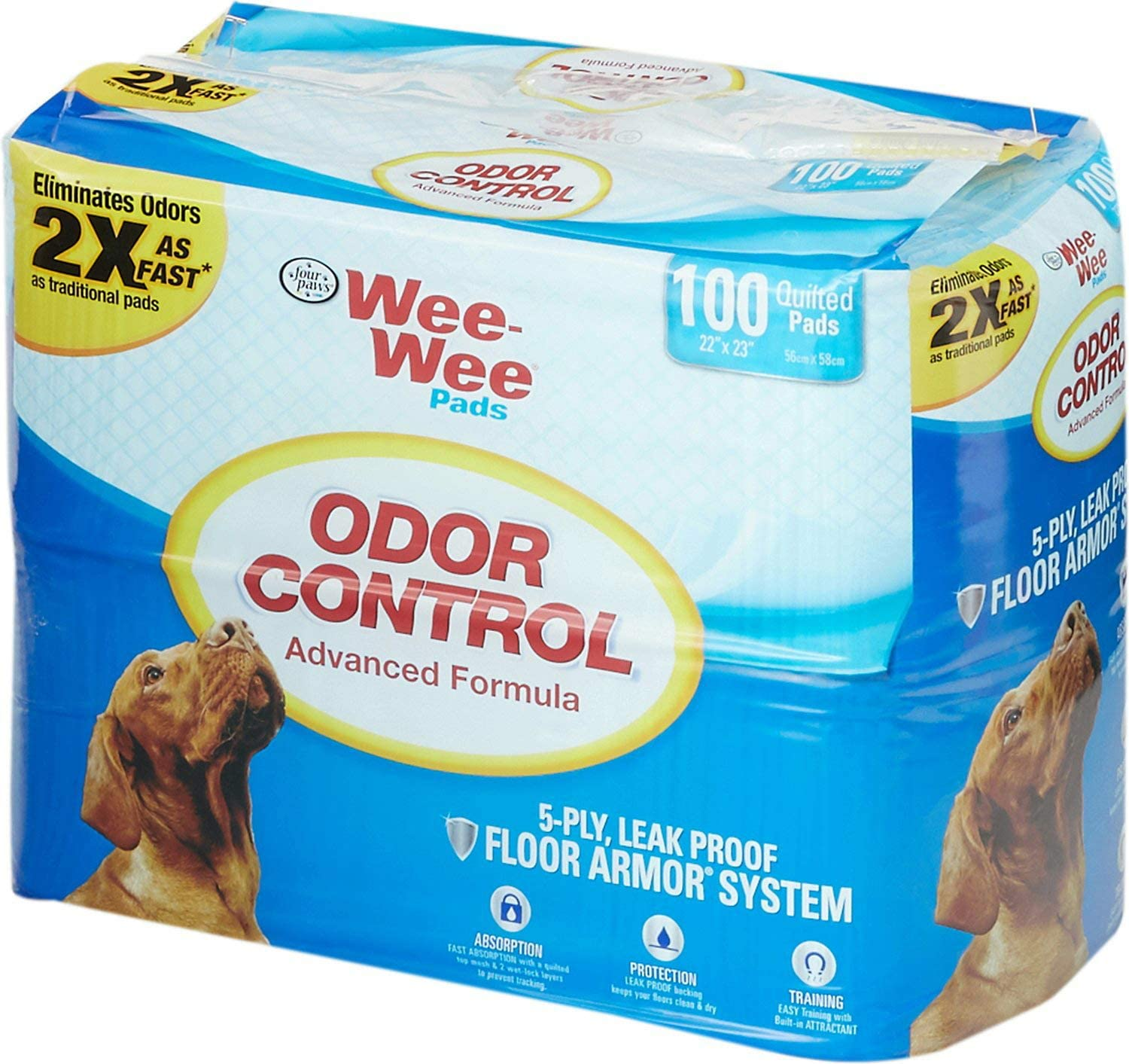 Four 35% OFF Paws Wee Pads 22x23 Inch New Free Shipping 100 Count Control Odor Pa 4
