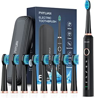 Electric Toothbrush,PHYLiAN Sonic Toothbrush with 8 Dupont Heads and Travel Case,Toothbrush Holder, 5 Modes, Smart Timer, ...