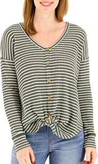 Grace and Lace Women's Olive Stripe Waffle Knit Thermal Tie Front Button Down Top