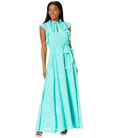 Tahari by ASL Clipped Floral Chiffon Maxi Dress with Ruffle Details