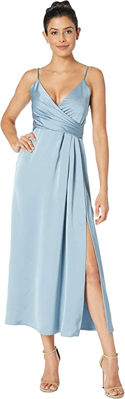 T-Length Satin Wrap Dress