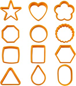 12PCS Color Plastic Cookie Cutters Heart Star Triangle for Food Cutters Vegetable Fruit Cutters