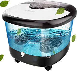Foot Spa with Heat and Massage and Bubbles Jets, Feet Spa Bath Massager w/Motorized Shiatsu Massage Ball and Maize Roller, Multi-modes Relieve Foot Pressure, Auto-heating,Infrared Light