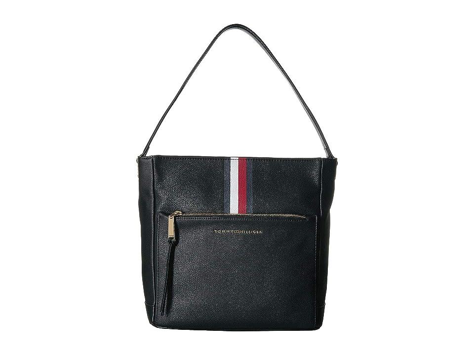 Tommy Hilfiger Althea Pebble PVC Hobo (Black) Handbags
