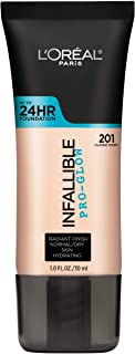 L'Oreal Paris Makeup Infallible Pro-Glow Foundation, 201 Classic Ivory, 1 Ounce