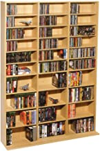 Atlantic Oskar Adjustable Media Wall-Unit - Holds 1080 CDs, 504 DVDs or 576 Blu-Rays/Games, 30 Adjustable and 6 fixed shelves PN38435715 in Maple