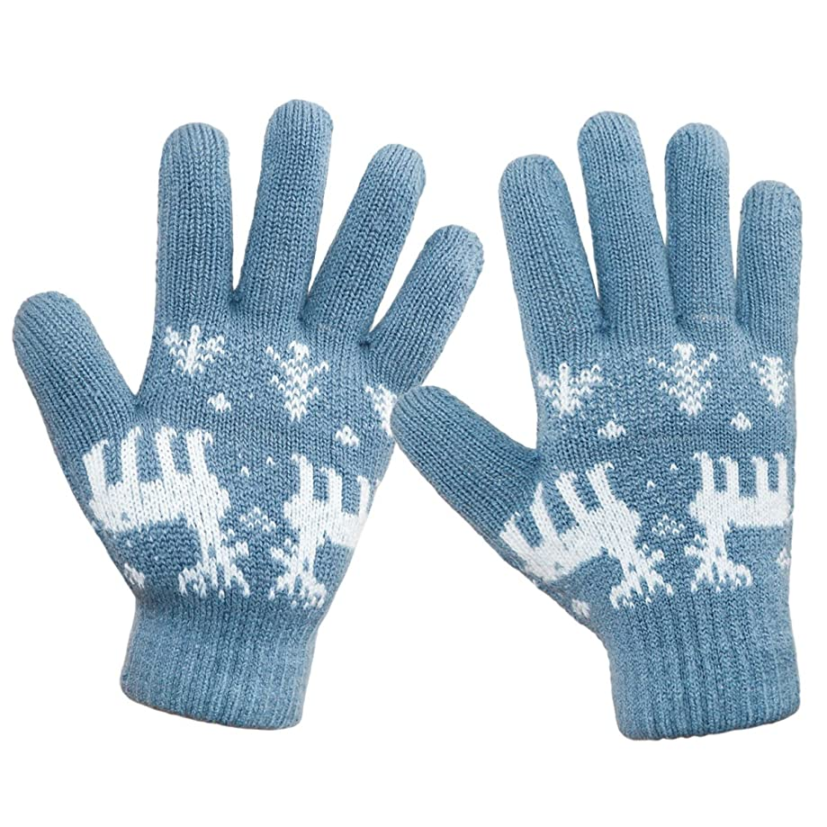 LETHMIK Christmas Thick Knit Gloves Winter Deer Knitted Warm Glove for Women&Girls