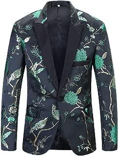 PYJTRL Mens Luxuriant Embroidery Woodpecker Pattern Blazer Fashion Suit Jacket