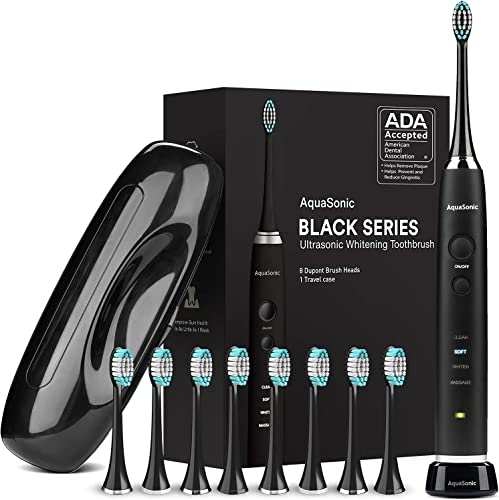 discount AquaSonic Black Series Ultra Whitening Toothbrush – ADA Accepted Electric Toothbrush - 8 outlet sale Brush Heads new arrival & Travel Case - Ultra Sonic Motor & Wireless Charging - 4 Modes w Smart Timer - Sonic Electric sale