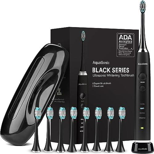 AquaSonic Black Series Ultra Whitening Toothbrush – ADA Accepted Electric Toothbrush - 8 Brush Heads & Travel Case - ...