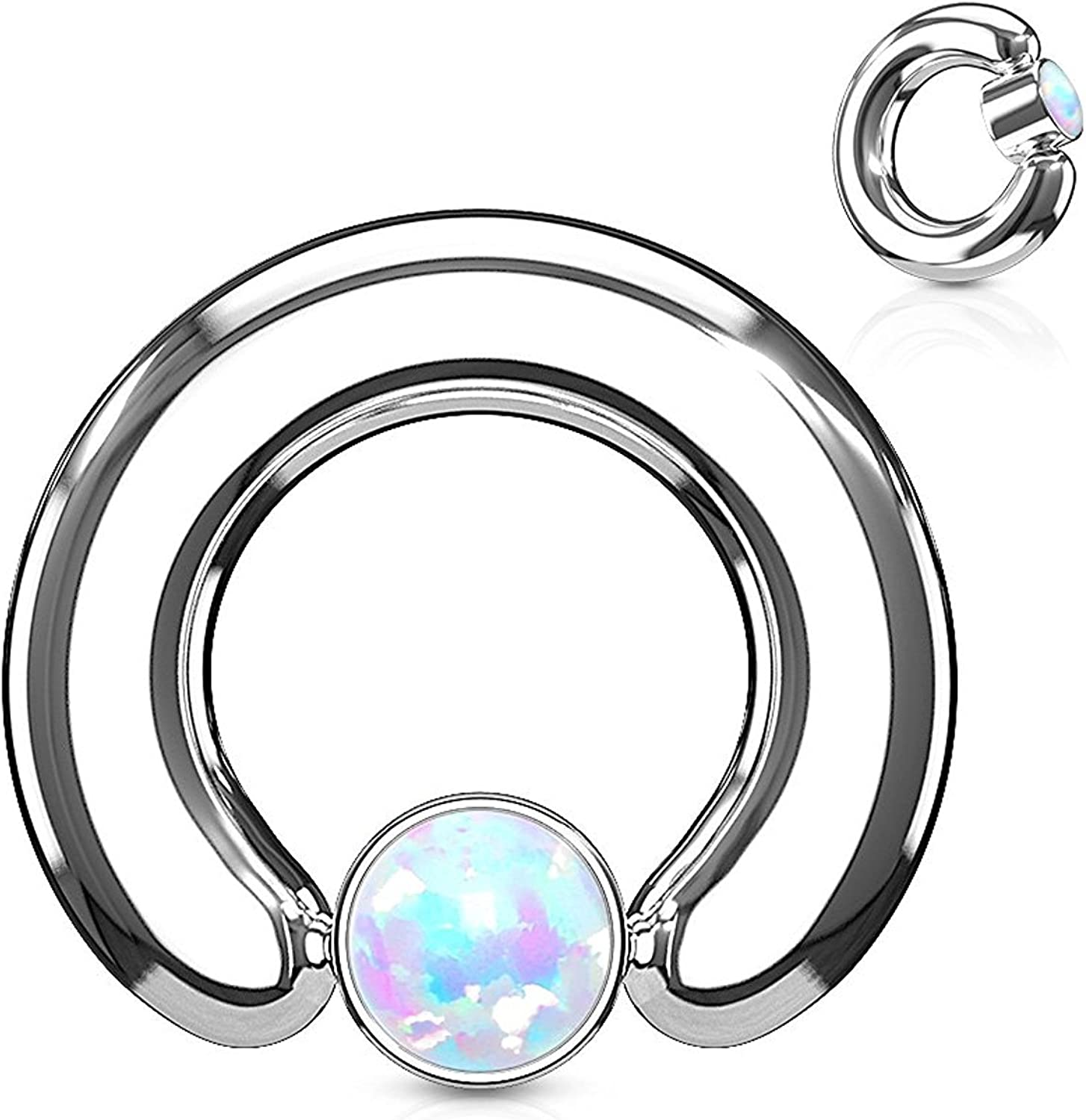 Covet Jewelry Opal Large Gauge Round Flat Cylinder Captive Rings 316L Surgical Steel