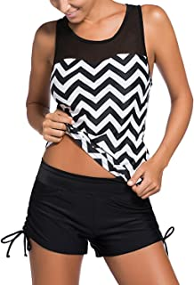 Sidefeel Black White Zigzag Print Mesh Splice 2 Pieces Tankini Swimsuit