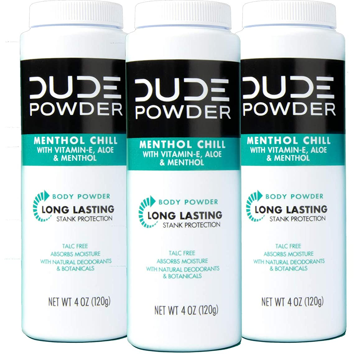 DUDE Body Powder, Menthol Chill 4 Ounce (3 Bottle Pack) Natural Deodorizers Cooling Menthol & Aloe, Talc Free Formula, Corn-Starch Based Daily Post-Shower Deodorizing Powder for Men