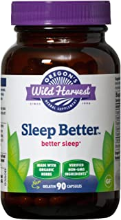 Oregon's Wild Harvest, Sleep Better, Certified Organic Herbal Sleep Aid with Valerian and Skullcap, 90 Count
