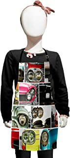 Lunarable 1960s Kids Apron, Classic Car Retro Automobile Collage Bumper and Headlights Classics Old City Vehicle, Boys Girls Apron Bib with Adjustable Ties for Baking Painting, Kids Size, Pink Black