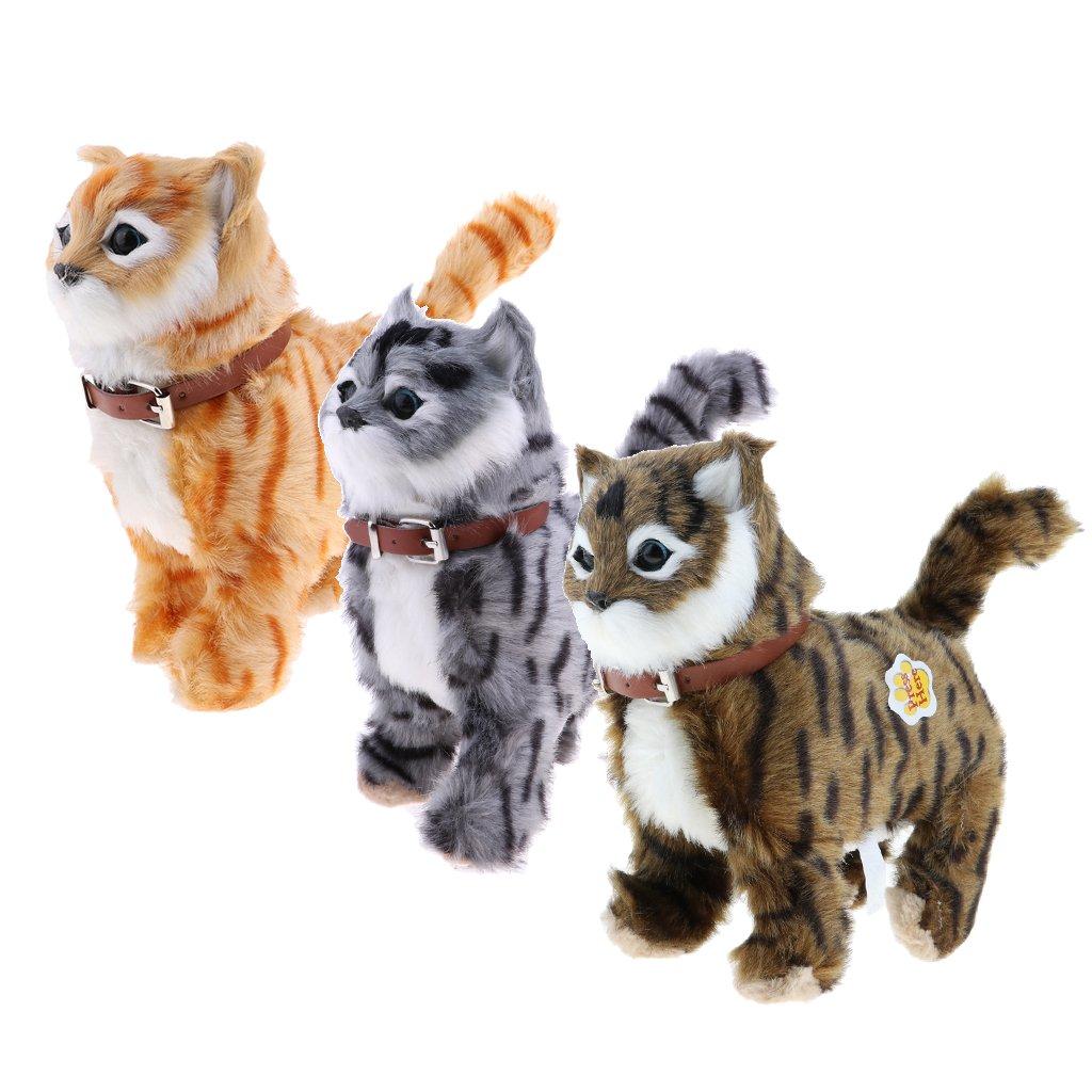 sharprepublic 3pcs Juguete de Animal de Peluche Forma Gato Cute Miau Caminando hacia Adeñante y Atrás Regalo para Niños: Amazon.es: Juguetes y juegos