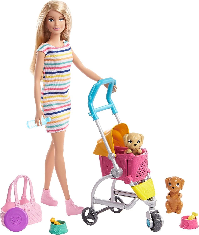 Barbie GHV92 - Barbie Hundebuggy Spielset mit Barbie-Puppe, 2 Hündchen und Buggy für die Hündchen, für Kinder ab 3 Jahren Blond