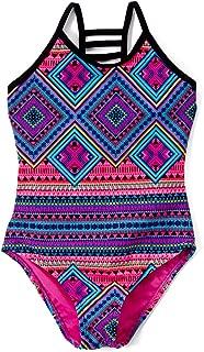 Girls Lattice Beach Sport One Piece Swimsuit UPF 50+ Sun Protection Caged Back
