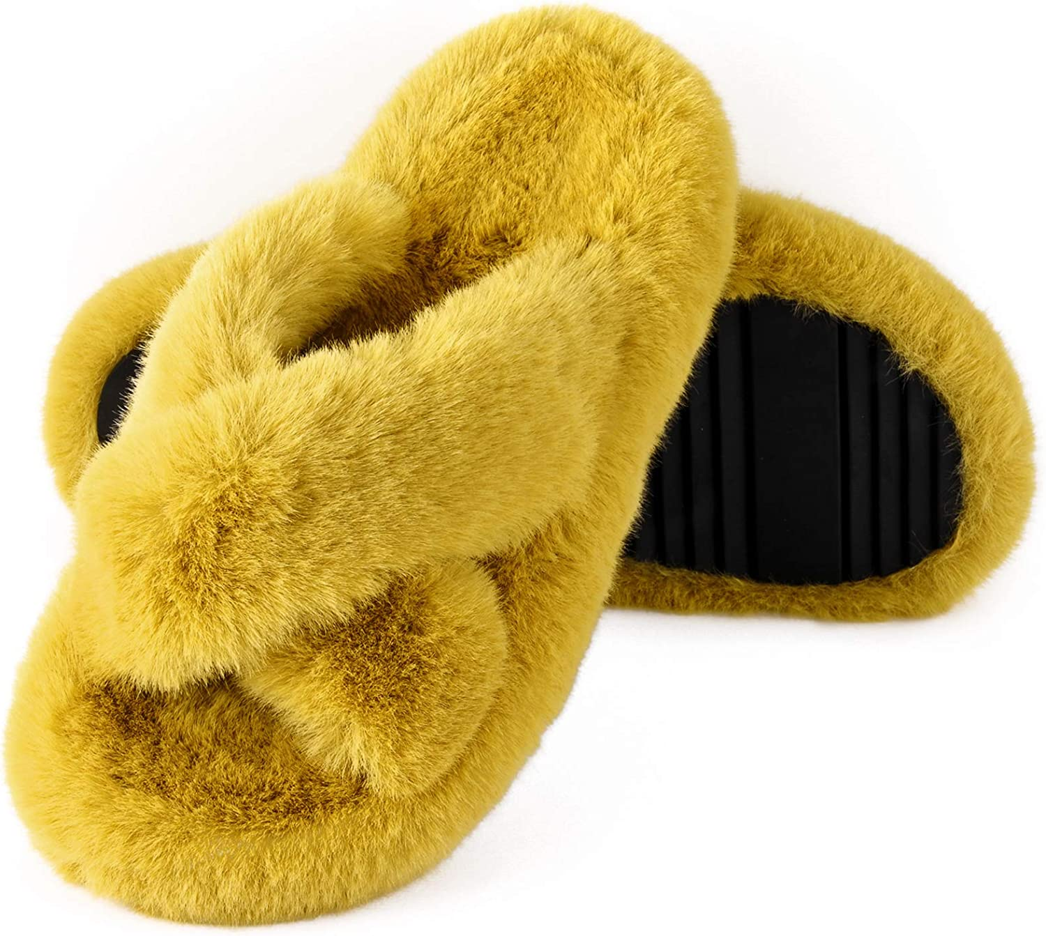 WATMAID Fuzzy Slippers for Women Soft Fluffy House Slippers Open Toe Cross Bands Anti-Skid Plush Furry Slippers Slides for Indoor Outdoor