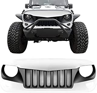 DIYTuning Front Grille for Jeep Wrangler JK JKU Unlimited Rubicon Sahara X Off Road Sport Exterior Accessories Parts 2007-2017 (Black&White Eagle)