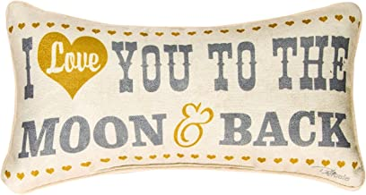 Manual Woodworkers & Weavers Word Throw Pillow, I Love You to The Moon and Back, 17 x 9