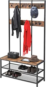 Extrordinary Living Entryway Large Coat Rack Stand Shoe Bench 3-in-1 Hall Tree 3-Tier Storage Shelves with Steel Frame with Grid Wall Multifunctional Hallway Shelf Office Bedroom Wood Look Accent Furniture Hall Tree (Hang Wall)