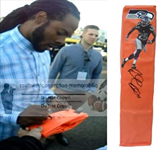 Seattle Seahawks Richard Sherman Autographed Hand Signed Full Size Photo Football Touchdown End Zone Pylon with Exact Proof Photo of Signing and COA, Stanford University Cardinal