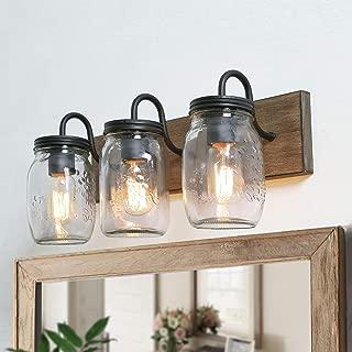 LNC Bathroom Vanity Light Fixtures, Farmhouse Mason Jar Lights with Faux Wood Finish, L18